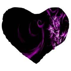 Purple Flower Floral Large 19  Premium Heart Shape Cushions by Mariart