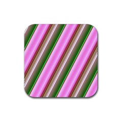 Pink And Green Abstract Pattern Background Rubber Square Coaster (4 Pack)  by Nexatart