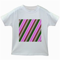 Pink And Green Abstract Pattern Background Kids White T-Shirts