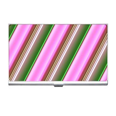 Pink And Green Abstract Pattern Background Business Card Holders by Nexatart
