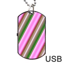 Pink And Green Abstract Pattern Background Dog Tag Usb Flash (two Sides) by Nexatart