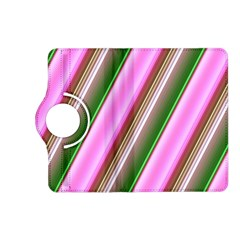 Pink And Green Abstract Pattern Background Kindle Fire Hd (2013) Flip 360 Case by Nexatart