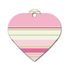 Turquoise Blue Damask Line Green Pink Red White Dog Tag Heart (one Side) by Mariart
