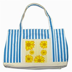 Sunflowers Flower Floral Yellow Striped Blue Tote Bag by Mariart