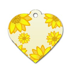 Sunflowers Flower Floral Yellow Dog Tag Heart (one Side) by Mariart