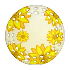 Sunflowers Flower Floral Yellow Ornament (round Filigree) by Mariart