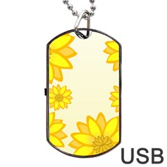 Sunflowers Flower Floral Yellow Dog Tag Usb Flash (one Side) by Mariart