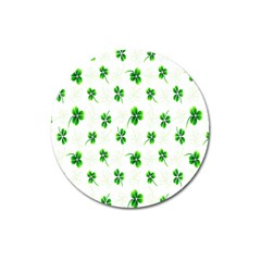 Leaf Green White Magnet 3  (round) by Mariart