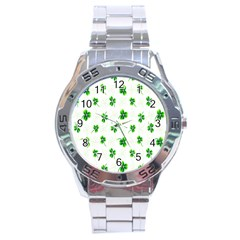 Leaf Green White Stainless Steel Analogue Watch by Mariart