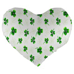 Leaf Green White Large 19  Premium Flano Heart Shape Cushions by Mariart