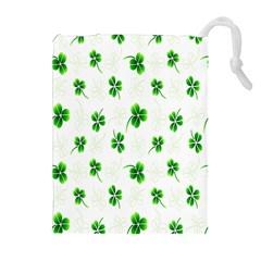 Leaf Green White Drawstring Pouches (extra Large) by Mariart