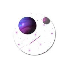 Space Transparent Purple Moon Star Magnet 3  (round) by Mariart
