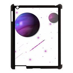 Space Transparent Purple Moon Star Apple Ipad 3/4 Case (black) by Mariart