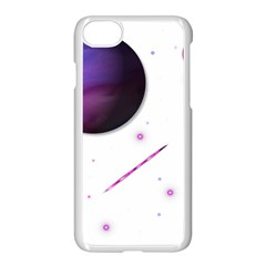 Space Transparent Purple Moon Star Apple Iphone 7 Seamless Case (white) by Mariart