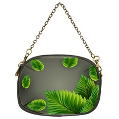 Leaf Green Grey Chain Purses (one Side)  by Mariart