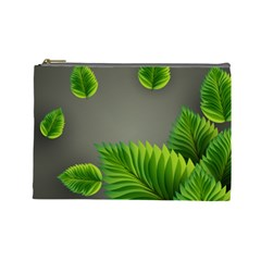 Leaf Green Grey Cosmetic Bag (large)  by Mariart