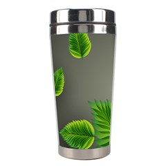 Leaf Green Grey Stainless Steel Travel Tumblers by Mariart