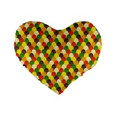 Flower Floral Sunflower Color Rainbow Yellow Purple Red Green Standard 16  Premium Flano Heart Shape Cushions by Mariart