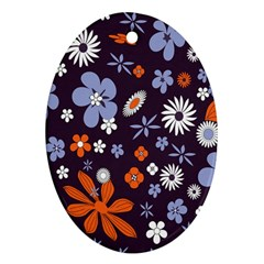 Bright Colorful Busy Large Retro Floral Flowers Pattern Wallpaper Background Ornament (oval)