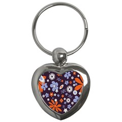 Bright Colorful Busy Large Retro Floral Flowers Pattern Wallpaper Background Key Chains (heart)  by Nexatart