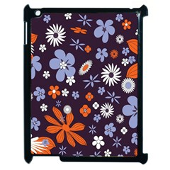 Bright Colorful Busy Large Retro Floral Flowers Pattern Wallpaper Background Apple Ipad 2 Case (black) by Nexatart