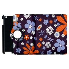Bright Colorful Busy Large Retro Floral Flowers Pattern Wallpaper Background Apple Ipad 3/4 Flip 360 Case by Nexatart