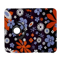 Bright Colorful Busy Large Retro Floral Flowers Pattern Wallpaper Background Galaxy S3 (flip/folio) by Nexatart