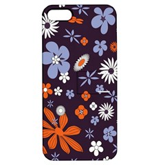Bright Colorful Busy Large Retro Floral Flowers Pattern Wallpaper Background Apple Iphone 5 Hardshell Case With Stand by Nexatart
