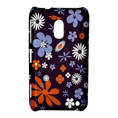 Bright Colorful Busy Large Retro Floral Flowers Pattern Wallpaper Background Nokia Lumia 620 by Nexatart