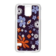 Bright Colorful Busy Large Retro Floral Flowers Pattern Wallpaper Background Samsung Galaxy S5 Case (white) by Nexatart