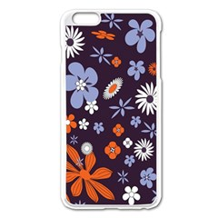 Bright Colorful Busy Large Retro Floral Flowers Pattern Wallpaper Background Apple Iphone 6 Plus/6s Plus Enamel White Case by Nexatart