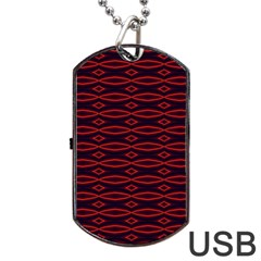 Repeated Tapestry Pattern Abstract Repetition Dog Tag Usb Flash (one Side) by Nexatart