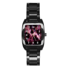 Grunge Purple Abstract Texture Stainless Steel Barrel Watch by Nexatart
