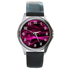 Abstract Pink Smoke On A Black Background Round Metal Watch by Nexatart