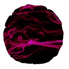 Abstract Pink Smoke On A Black Background Large 18  Premium Round Cushions by Nexatart