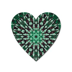 Abstract Green Patterned Wallpaper Background Heart Magnet by Nexatart