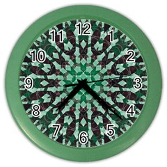 Abstract Green Patterned Wallpaper Background Color Wall Clocks by Nexatart