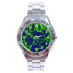 Abstract Green And Blue Background Stainless Steel Analogue Watch by Nexatart