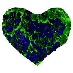 Abstract Green And Blue Background Large 19  Premium Heart Shape Cushions by Nexatart