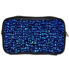 Blue Box Background Pattern Toiletries Bags 2 Side