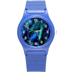 Underwater Abstract Seamless Pattern Of Blues And Elongated Shapes Round Plastic Sport Watch (s) by Nexatart