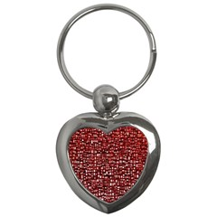 Red Box Background Pattern Key Chains (heart)  by Nexatart