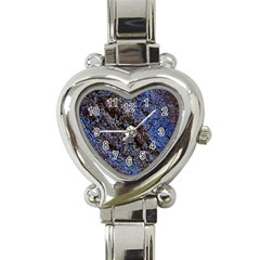 Cracked Mud And Sand Abstract Heart Italian Charm Watch by Nexatart