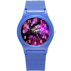 Pink Abstract Tree Round Plastic Sport Watch (s) by Nexatart