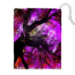 Pink Abstract Tree Drawstring Pouches (xxl) by Nexatart
