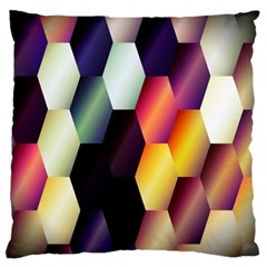 Colorful Hexagon Pattern Large Flano Cushion Case (one Side) by Nexatart