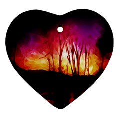 Fall Forest Background Ornament (heart) by Nexatart
