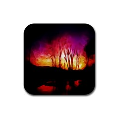 Fall Forest Background Rubber Square Coaster (4 Pack)  by Nexatart