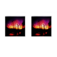Fall Forest Background Cufflinks (square) by Nexatart