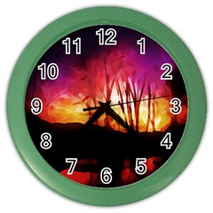 Fall Forest Background Color Wall Clocks by Nexatart